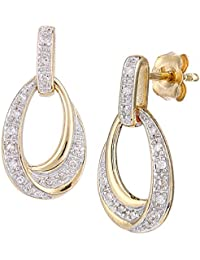Naava 9ct Gold Diamond Teardrop Design Earrings