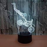DHYWGS Schlummerleuchten Bunte led nachtlicht 3D Illusion USB atmosphäre tischlampe für Kinder Baby Kinder Geschenk Nacht Schlafzimmer Motorrad Weihnachtsbeleuchtung