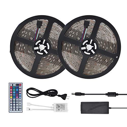 LED Strip RGB mit Fernbedienung dimmbar LED Streifen Gedächtinis Memory Funktion weiß bunt 4 pins Band Unterbauleuchte Beleuchtung mit Trafo 12V 5 A, komplettset, 5050 SMD LED mit Silikonschutz