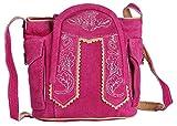 Trachten-Handtasche aus Echtleder, 15cm, pink