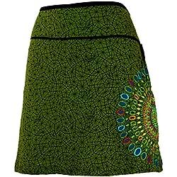 GURU-SHOP, Mini Falda, Falda de Verano, Falda Hippie, Falda Goa, Verde, Algodón, Tamaño:L/XL (40), Faldas Cortas