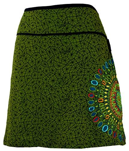 GURU-SHOP, Mini Falda, Falda de Verano, Falda Hippie, Falda Goa, Verde