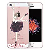 Coque iPhone SE, TrendyBox Transparent PC Hard Cover avec soft TPU Pare-chocs pour iPhone 5/5S/SE avec verre trempe film de protection (Danseuse de ballet)