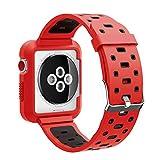 EL-move Apple iWatch Armband 42mm, Serie 1 2 3 Sport Silikon Armbanduhr Silikonarmband Ersatzarmband Armband für Apple iWatch/Apple Uhr Nike+ Serie 1 Serie 2 Serie 3 (42MMAPRB)