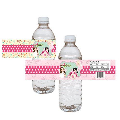 orations - EU Fee-Party-Wasser-Flaschen Etiketten - Mädchen-Kind-Wald Geburtstags-Babyparty-Aufkleber - Satz von 12 ()