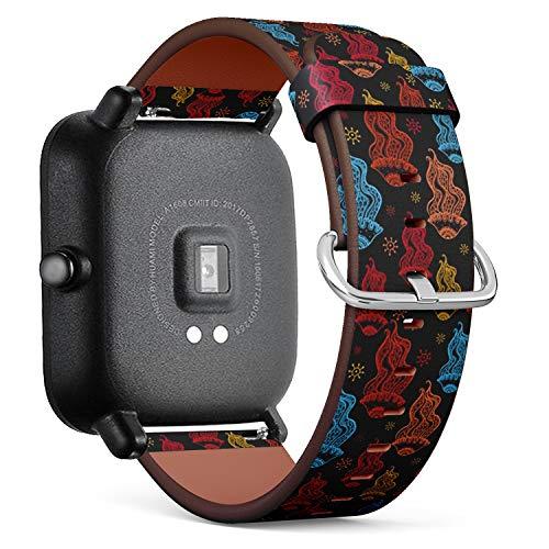 Kompatibel mit für Huami Amazfit Bip - Leder-Armband Uhrenarmband Ersatzarmbänder mit Schnellverschluss (Qualle Farbe Marine) - Womens Quallen