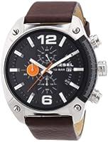 DIESEL Overflow Men's Quartz Watch with Black Dial and Brown Leather Strap DZ4204