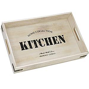 com-four® Serviertablett aus Holz, Tablett mit Tragegriffen und Aufdruck Kitchen, 40 x 26 x 6,5 cm (01 Stück - Kitchen)