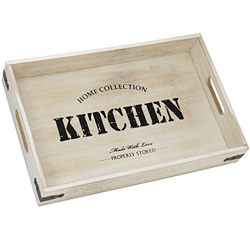 COM-FOUR® Serviertablett aus Holz, Tablett mit Tragegriffen und Aufdruck
