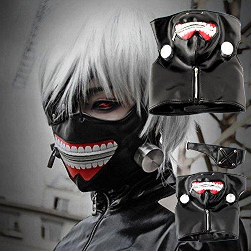 SYMTOP Tokyo Ghoul Cosplay Party Kostüm Props Requisit Halloween Herren 東京喰種トーキョーグール Kaneki Ken Reißverschluss-Maske PU-Leder Verkleidung
