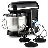 VonShef 800W Küchenmaschine Rührmaschine Knetmaschine - 3,5L Rührschüssel mit Spritzschutz – Inklusive Flachrührer, Knethaken & Schneebesen - Schwarz