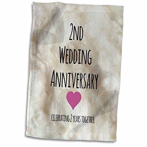 3dRose 2Nd Regalo de Boda, algodón celebración 2 Juntos, Segundo Aniversario Dos años Toalla, Blanco, 15 x 22 Pulgadas