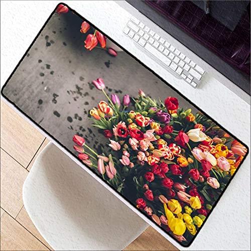 Kaidanba Viel Tulpen Verschiedene Farben Große Mausunterlage Gaming Mousepad Rutschfeste Gaming-Mausunterlage aus Naturkautschuk mit Schlosskante,300X600X2MM