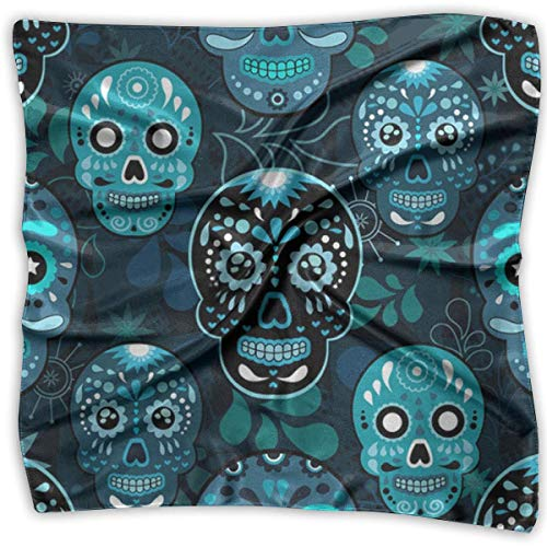 Hoklcvd Elegant Silk Feel Grunge Cute Mexican Sugar Skulls Day of The Dead Floral Satin Square Scarf Wrap