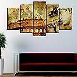 bonniegj Wall Art Imagen Modular Moderna Decoración para el hogar Lienzo HD Imprimir 5 Piezas Italia Coliseo Arena Mapa Pintura Resumen Cartel