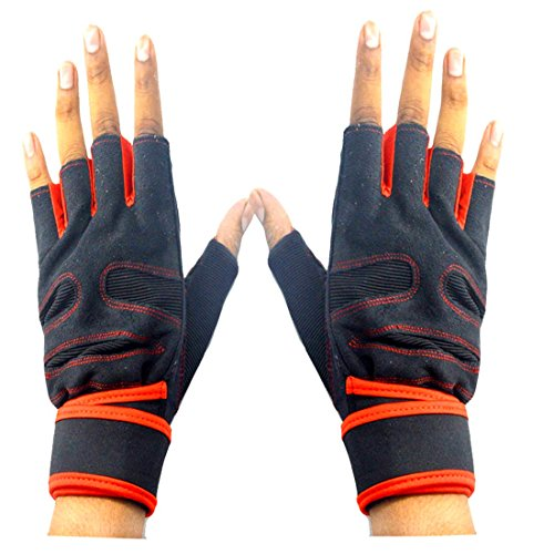 Faynci Sport Bike Riding fingerless Gloves for Boys, Men and Women, color Red/Black.