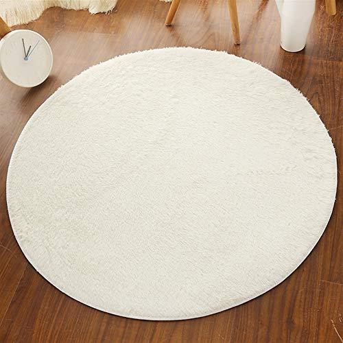 Insun Alfombra Shaggy Redondo Alfombra de Monocromática Decoración Interior Lavable Antideslizante para Sala de Estar y Dormitorio Crema 60cm Diámetro