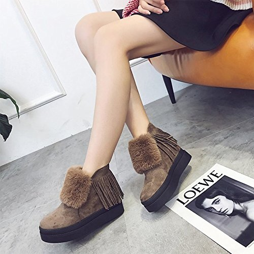Hsxz Femmes Chaussures Nubuck Cuir Polaire Hiver Printemps Bottes De Neige Bootie Bottes Liane Bout Rond Fermé Toe Booties / Bottines Occasionnels Kaki