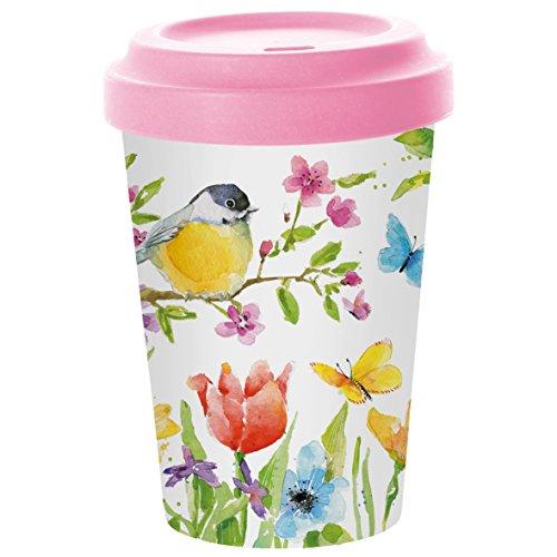 PPD Spring Bird Coffee-To-Go Becher, Kaffeebecher, Pappbecher, Trinkbecher, Bambus-Silikon, Bunt, Ø...