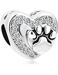 Uniqueen Dog Mum Animal Paw Print Charms with red Crystal Bead fit Bracelet