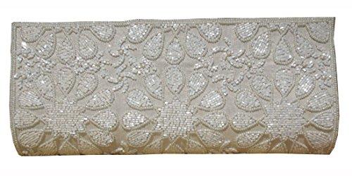 Weiße gestickte Clutch der Gewürz-Kunst-Frauen (Pailletten-handtasche Floral)