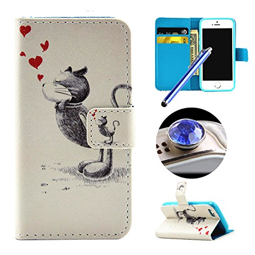 Etsue pour iPhone SE,iPhone 5/5S, Coque de cuero con soporte Carcasa Tapa Case Cover pour iPhone SE,iPhone 5/5S,Housse en cuir Cas magnétiques compartiments cartes de serrure Cover Shell Case pour iPh Chat amour coeur
