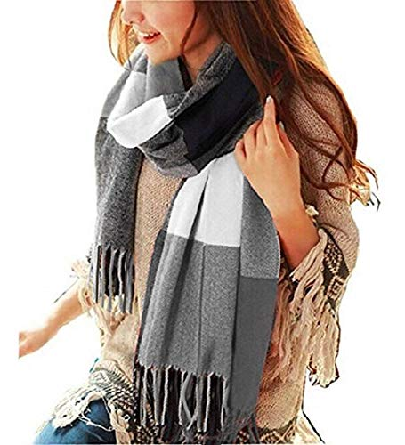 Heekpek sciarpa donna inverno scialle maglione cappotto girl grandi tartan wrap maglia scialle inverno donna poncho donna invernale stola pashmina per donna (nero)