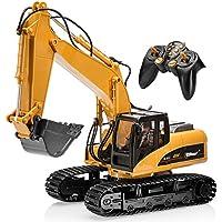 Excavatrice Top Race® radiocommandée à 15 canaux aux fonctionnalités professionnelles complètes, tracteur de construction avec radiocommande à piles alimentées ~Pelleteuse métallique~ (TR-211)