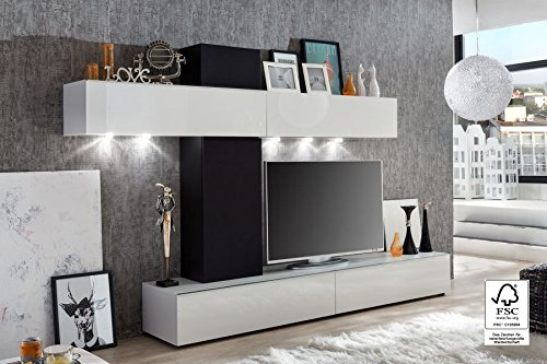 Furnline Living Room Furniture Set TV Stand Wall Unit, White High Gloss