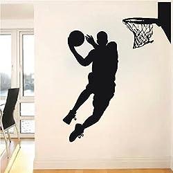 Adhesivos de baloncesto de pared vinilo adhesivo adhesivo decoración de atleta deportes Hall Casa de diseño de interiores dormitorio ventana Gym Sport Escuela Arte murales?
