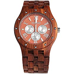 BS ® Casual Handmade Wooden Watch Multifunction Quartz Movement Water Resistance Natural Red Sandalwood BNS-260A