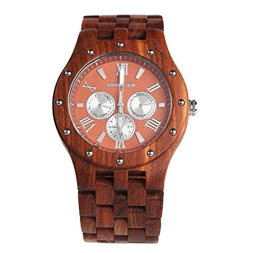 BS® Casual handgefertigt Holz Armbanduhr Multifunktions Quarz Bewegung Wasser Widerstand natur, rot Sandelholz bns-260a (Tasche Bambus-leder)