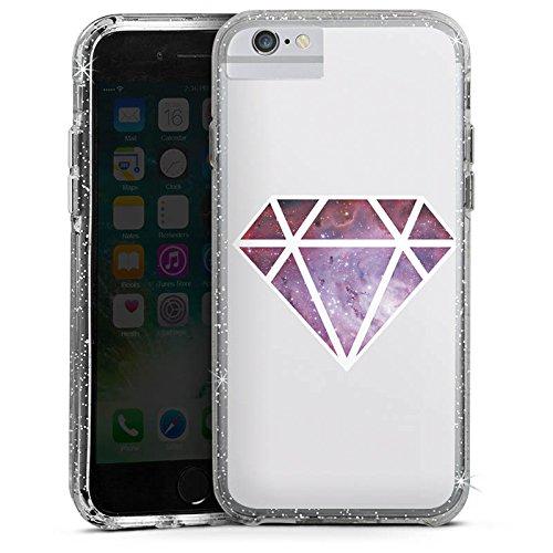 Apple iPhone 7 Plus Bumper Hülle Bumper Case Glitzer Hülle Diamond Diamant Galaxie Bumper Case Glitzer silber