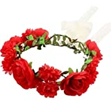 Sansee Handmade Flower Garland Halo for wedding Floral Headbands Hairband party corona copricapo. Red