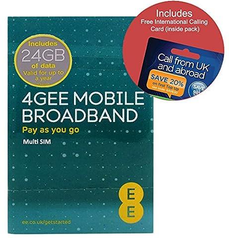 EE 4G 24GB UK PAYG Trio Data SIM - Mobile Broadband -24GB + (FREE International Calling Card - RETAIL