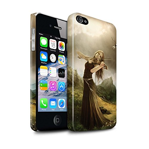Officiel Elena Dudina Coque / Clipser Brillant Etui pour Apple iPhone 4/4S / Violoncelle/Nuages Design / Réconfort Musique Collection Chanson de Fleurs