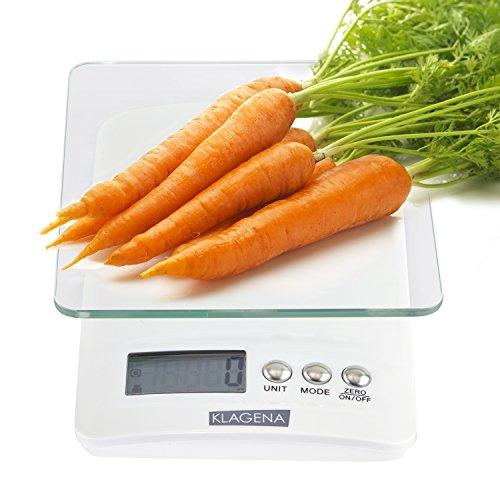 KLAGENA Digitale Küchenwaage mit LCD-Display, in weiß, bis 5000 g - Elektronische Waage / Lebensmittel-Waage / Brief-Waage / Tisch-Waage / Digital-Waage - mit 2 Jahren Geld-zurück-Garantie