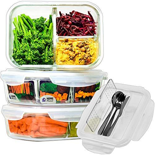 Home Planet® 3 Fächer 1050 ml Glas Brotdose mit Besteckset (3er Set) | BPA Frei Luftdicht klick Lock Deckel | Mikrowelle und Gefrierschrank | Aufbewahrung/Mahlzeit Prep Behälter/Bento Box -