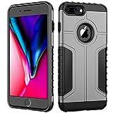 JETech Funda Compatible iPhone 8 Plus y iPhone 7 Plus, Carcasa Protectora de Doble Capa Absorción de Choque, Gris