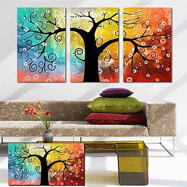 """BBSLT- tela set di 3 botanico albero della vita pieno di speranza colorata Stampa trasferimenti su tela pronto da appendere , 14"""" x 20"""""""