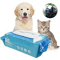 KOBWA Toallitas para Mascotas, toallitas de Aseo Toallitas desodorantes para Perros y Gatos Limpieza de la Cara Mascotas Toallitas para Mascotas hipoalergénicas desodorantes Suaves, 80 Cuentas