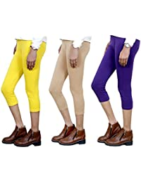 IndiWeaves Girls Stylish attractive color Cotton 3/4 th Pant/Capri(Pack of 3)