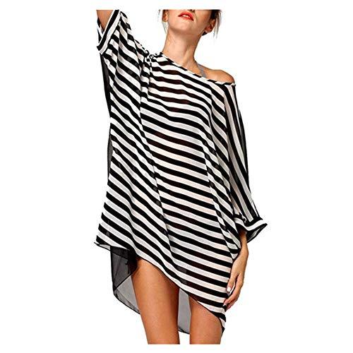 Copricostume donna a righe,copricostumi e parei donna estate camicetta trasparente sciolto bikini cover up spiaggia mare costume da bagno tunica camicia abito