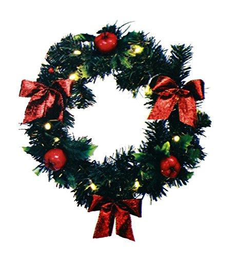 HAAC LED Deko Kranz Türkranz beleuchteter Weihnachtstürkranz mit 15 Leds Timer und roten Dekoäpfeln
