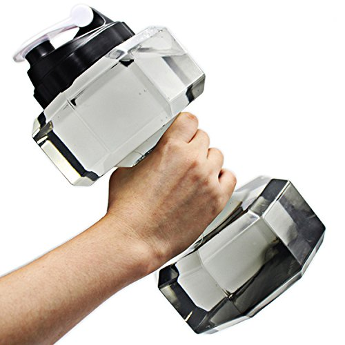 JOUDOO Hantel Form Wasser Flasche Sports Fitness Übung Flasche 85,4oz (/2500ml) ylb001, Gelb, 1 Piece