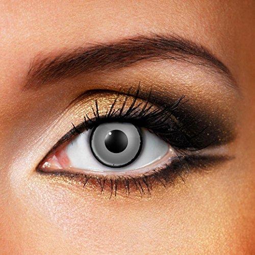 Paio di lenti a contatto colorate Zombie Eye lenti a contatto unisex GRIGIE con contorno nero finte senza diottrie in soluzione salina wildcat durata 3 mesi lenti a contatto per carnevale e halloween o scherzo lenti a contatto decorative
