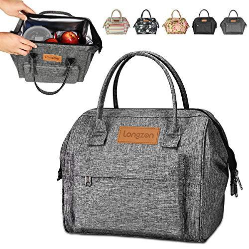 Longzon borsa termica pranzo, 15l borsa termica grande portatile termico borsa frigo per uomo/donna/bambino, borsa portapranzo per ufficio, scuola e picnic (grigio)