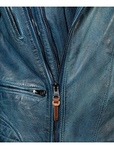 Haston rocho - Blouson en cuir de mouton - fermeture zippée - col chemise à pressionns - Homme Mid Wash Blue