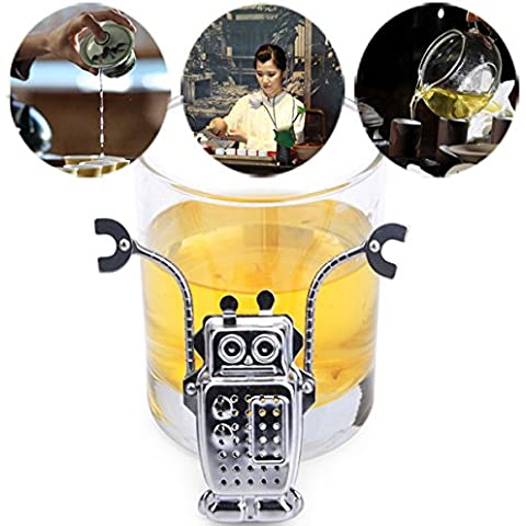 Aliciashouse Utensili in acciaio inox Robot tè foglia filtro tè infusore filtro con vassoio - Acciaio Inox Porta Cerniere