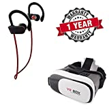 #6: Starford QC10 Jogger Wireless Bluetooth Headset with 3D VR Headset Virtual Reality Box with Adjustable Lens and Strap Compatible with All Smartphones. (One Year Warranty)